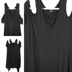 A line dress, cold shoulder & criss cross front.